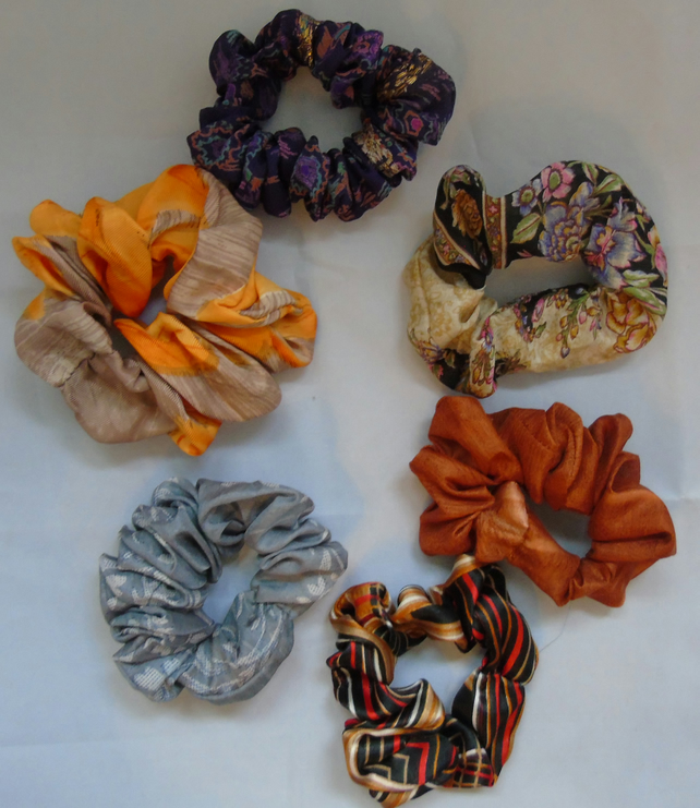 Six Colourful Hair Scrunchies