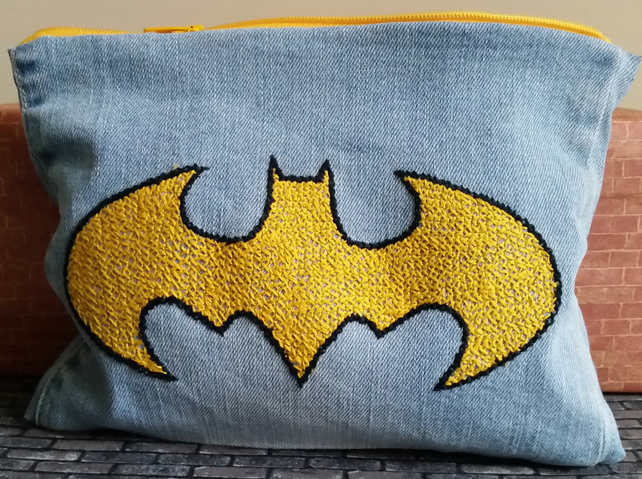 Batman Zippered Pouch Hand Embroidered onto Denim