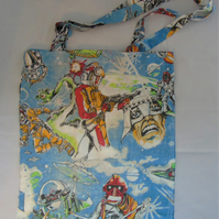 Upcycled Shopping or Tote Bag - Vintage Space or Sci Fi scene