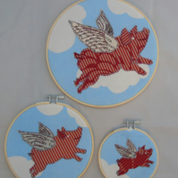 Three Flying Pigs - Textile Art