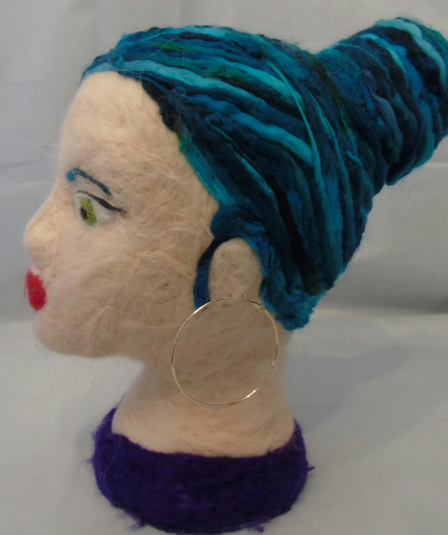 Blue Haired Needle Felted Head