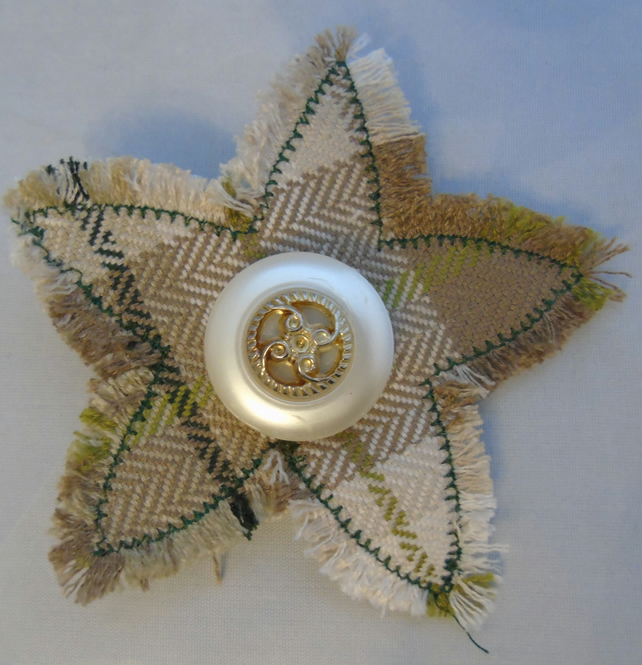 Fabric Brooch - Tweed Star