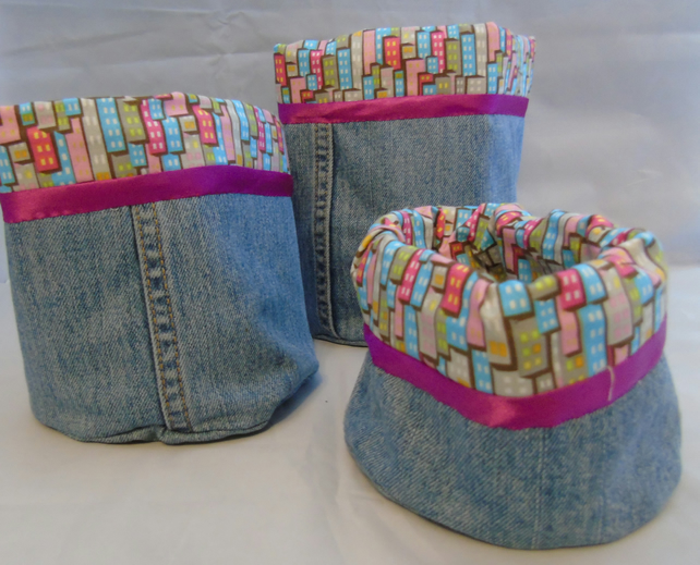 Upcycled Denim Storage Baskets - Set of Three
