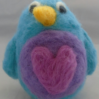 Blue Needle Felted Bird (Large)