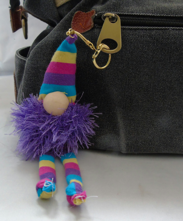 Lavender Gnome Keyring - Purple Beard