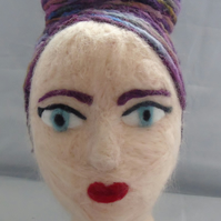 Purple Haired Needle Felted Head
