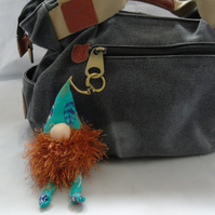Lavender Gnome Keyring - Brown Beard