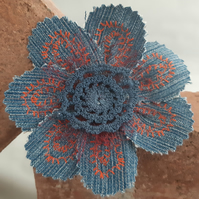 Denim Flower Brooch - Blue Crocheted Lace
