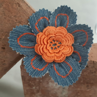 Denim Flower Brooch - Orange Detail