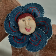 Flower Baby Brooch - Denim with Red Hair