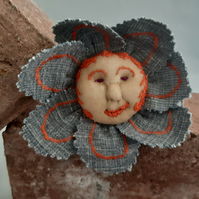Flower Baby Brooch - Denim