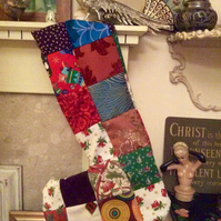 Vintage fabric material patchwork stocking Christmas boho