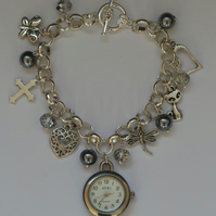 Upcycled silver charm bracelet watch