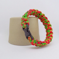 Paracord Bracelet - Bright Pink and Green