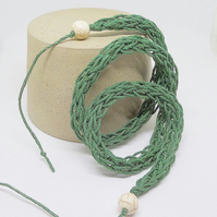 Green Natural Hemp Wrap Bracelet