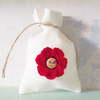 Crocheted Poppy Gift Bag. Flower Bag. Jewellery Bag. Keepsake Bag. Gift Bag.