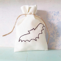 Gift Bag. Keepsake Bag. Bats. Cotton Bag. Embroidered Bag. Embroidered Gifts.
