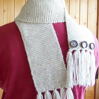 Hand Knitted Scarf. Winter Scarf. Woollen Scarf. Woolly Scarf. Wool Scarf