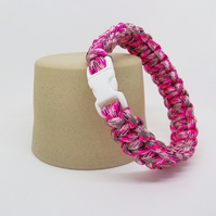 Paracord Bracelet - Pink And Grey.