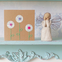 Flower Card. Hand Sewn Card. Embroidered Card. Hand Stitched Card.