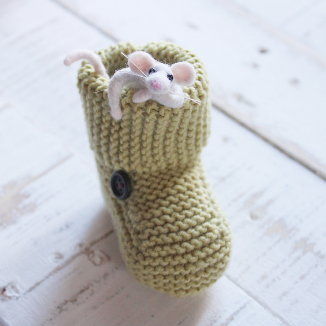 Needle Felt Mouse. Baby Boot. Baby Shower Gift. New Baby Gift.