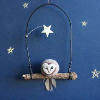 Tiny Winking Owl With Glow In The Dark Star. Needle Felt Owl. Mothers Day Gift.