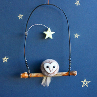 Needle Felt Owl With Glow In The Dark Star