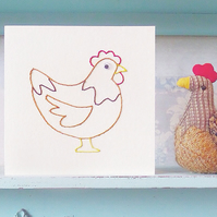 Chicken Card. Hand Sewn Card. Mothers Day Card. Birthday Card. Blank Card. Farms