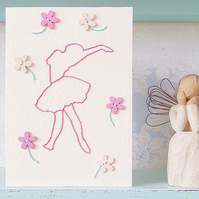 Ballerina Card. Ballet Card. Mothers Day Card. Birthday Card. Hand Sewn Card.