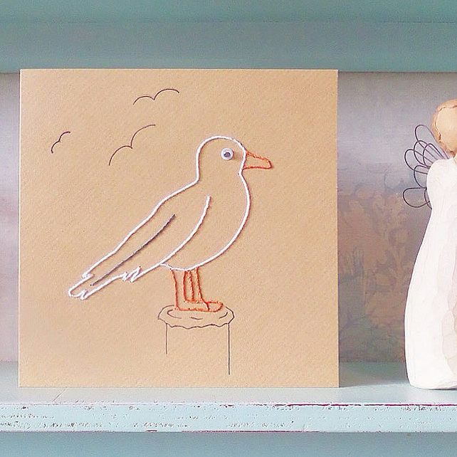 Seagull Card. Bird Card. Mothers Day Card. Blank Card. Hand Sewn Card. Birthdays