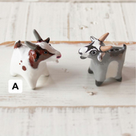 Miniature Goat - Brown and White. Polymer Clay Model. (Sold Individually).