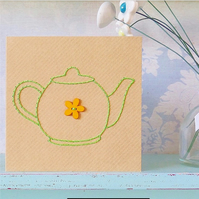 Teapot Card. Hand Sewn Card. Blank Card. Mothers Day Card. Teapots.