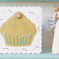 Cupcake Card. Birthday Card. Stitched Card. Hand Sewn Card. Blank Card. Cupcakes