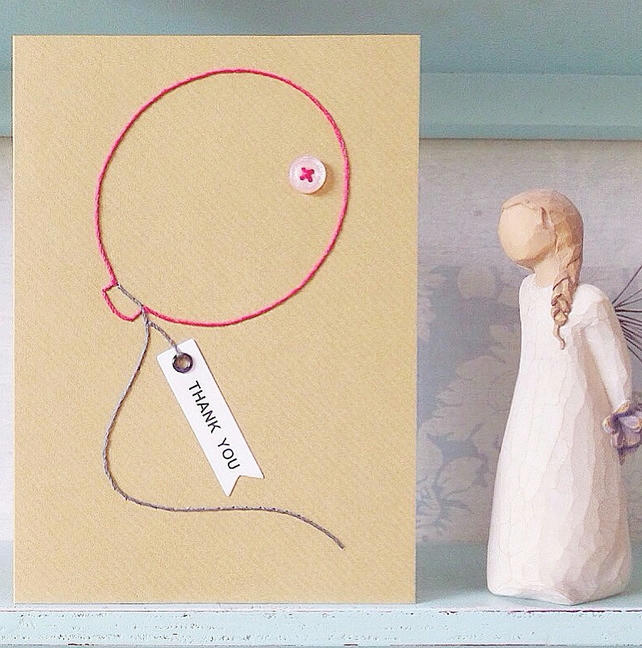Thank You Card. Hand Sewn Card. Balloon Card. Blank Card. Hand Stitched Card.