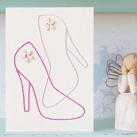 Mothers Day Card. Fashion Card. Hand Sewn Card. Embroidered Card. Blank Card.