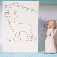 Stag Card. Scottish Card. Mothers Day Card. Hand Sewn Card. Embroidered Card.