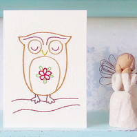 Owl Card. Blank Card. Hand Sewn Card. Hand Stitched Card. Mothers Day Card.