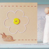 Snail Card. Embroidered Card. Hand Sewn Card. Blank Card. Hand Stitched Card.
