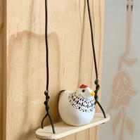 Polymer Clay Chicken On A Swing. Chicken Swing. Hanging Decoration. Tiny Chicken