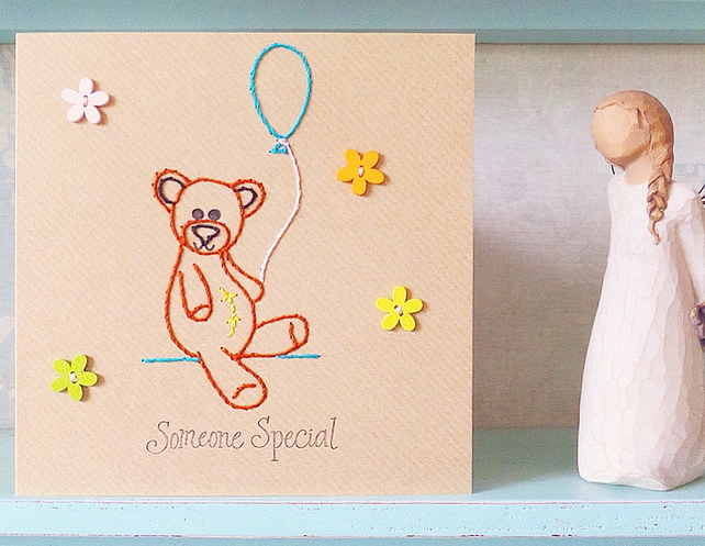 Teddy Bear Card. Hand Sewn Card. Thank you Card. Blank Card. Birthday Card.
