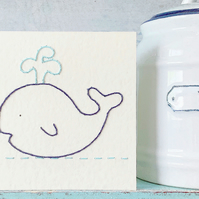 Whale Card. Embroidered Card. Blank Card. Birthday Card. Bon Voyage Card.
