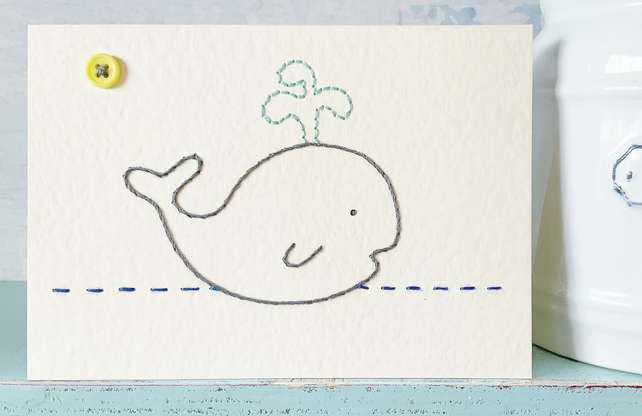 Whale Card. Hand Sewn Card. Embroidered Card. Blank Card. Birthdays. Ocean Card.