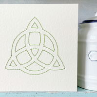 Celtic Knot. Hand Sewn Card. Embroidered Card. Birthday Card. Blank Card.