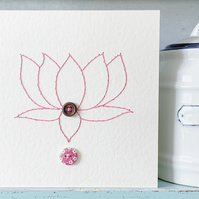 Lotus Flower. Hand Sewn Card. Blank Card. Thank You Card. Anniversary Card.