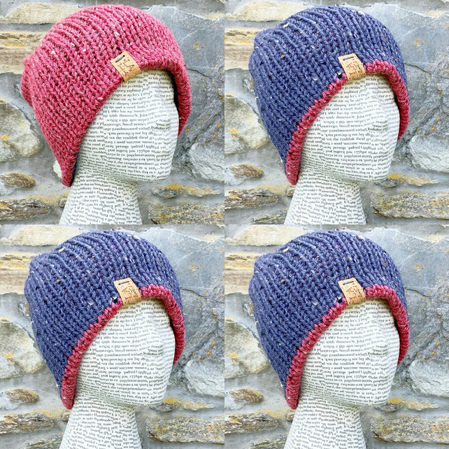 Reversible Hat. Knitted Hat. Woollen Hat. Woolly Hat. Cosy Hat. Beanie. Slouchy.