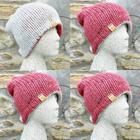 Reversible Hat. Woolly Hat. Knitted Hat. Beanie. Slouchy. Woollen Hat. Cosy Hat.