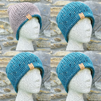 Reversible Hat. Knitted Hat. Woolly Hat. Wool Hat. Woollen Hat. Cosy Hat.