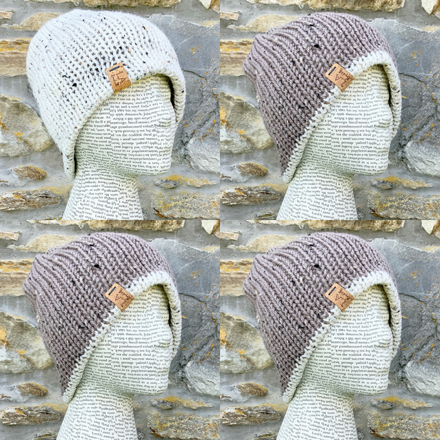 Reversible Hat. Woollen Hat. Beanie. Slouchy. Knitted Hat. Woolly Hat. Cosy Hat.