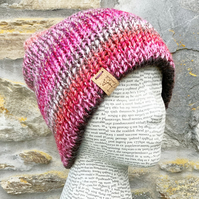 Knitted Hat. Double Thickness Hat. Beanie. Slouchy. Woollen Hat. Woolly Hat.