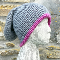 Slouchy. Knitted Hat. Beanie. Woolly Hat. Woollen Hat. Grey Hat. Pink Hat.